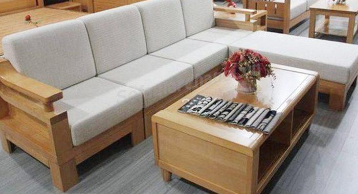 Hình ảnh ghế sofa chữ L gỗ đẹp hiện đại với thiết kế đơn giản
