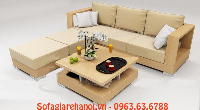 Hình ảnh bộ ghế sofa gỗ chữ L đẹp được tích hợp thêm phần mệm mút ấm áp