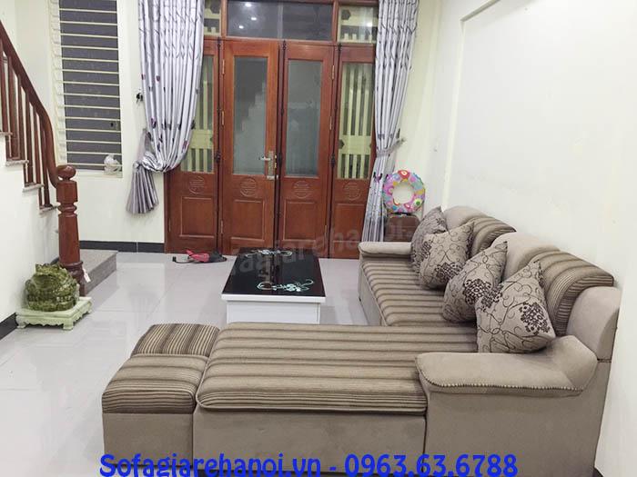 Hình ảnh không gian căn phòng khách gia đình nhà khách hàng khi bài trí mẫu ghế sofa nỉ góc chữ L