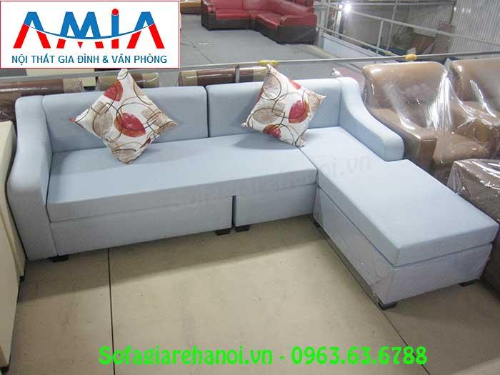 Hình ảnh mẫu ghế sofa nỉ góc chữ L AmiA SFN134 đẹp hiện đại cho không gian căn phòng khách đẹp gia đình