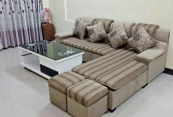 Hình ảnh Ghế sofa nỉ chữ L đẹp hiện đại tại nhà khách hàng