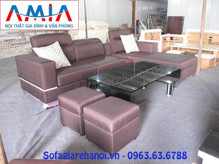 Hình ảnh cho bộ ghế sofa nỉ góc chữ L khi được chụp tại Kho nội thất AmiA