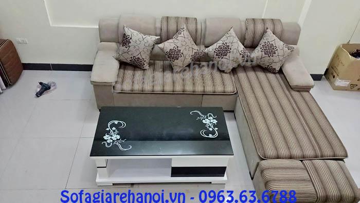 Hình ảnh cho mẫu ghế sofa nỉ góc chữ L đẹp hiện đại cho phòng khách gia đình
