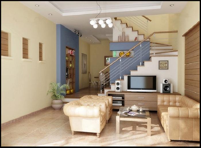 Hình ảnh bộ bàn ghế phòng khách nhà ống có cầu thang đẹp