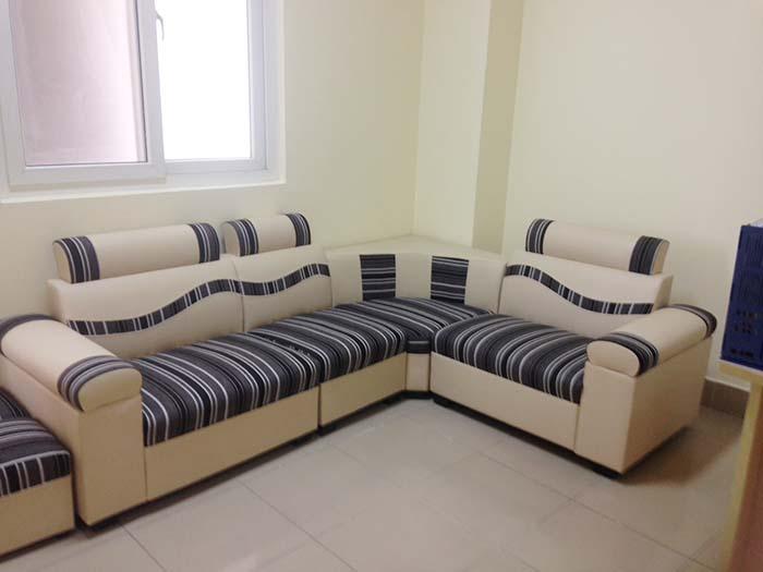 Hình ảnh bộ bàn ghế sofa góc giá rẻ với chất liệu da pha nỉ
