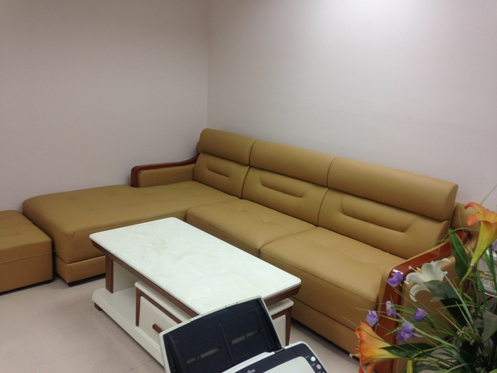 Hình ảnh bộ bàn ghế da góc chữ L với gam màu độc đáo và mới lạ