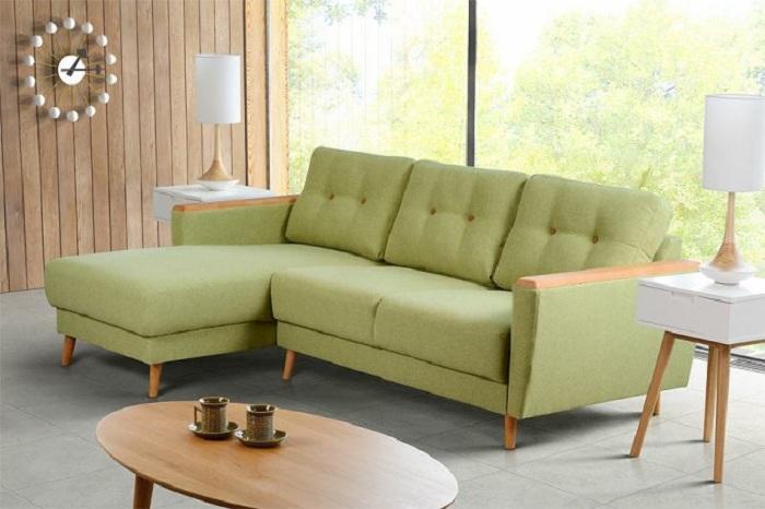 Hình ảnh mẫu ghế sofa góc chữ L khi được bài trí trong phòng khách nhỏ gia đình