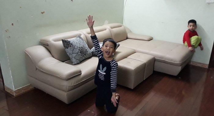 Hình ảnh mẫu bàn ghế da góc chữ L đẹp cho không gian phòng khách gia đình Việt
