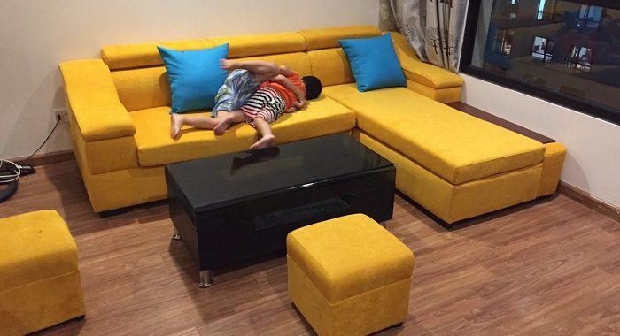 Hình ảnh bộ bàn ghế phòng khách nhỏ xinh với dạng sofa nỉ góc chữ L đẹp hiện đại