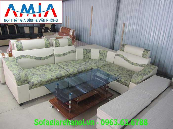 Hình ảnh bộ bàn ghế sofa góc giá rẻ da pha nỉ đẹp hiện đại cho căn phòng khách đẹp