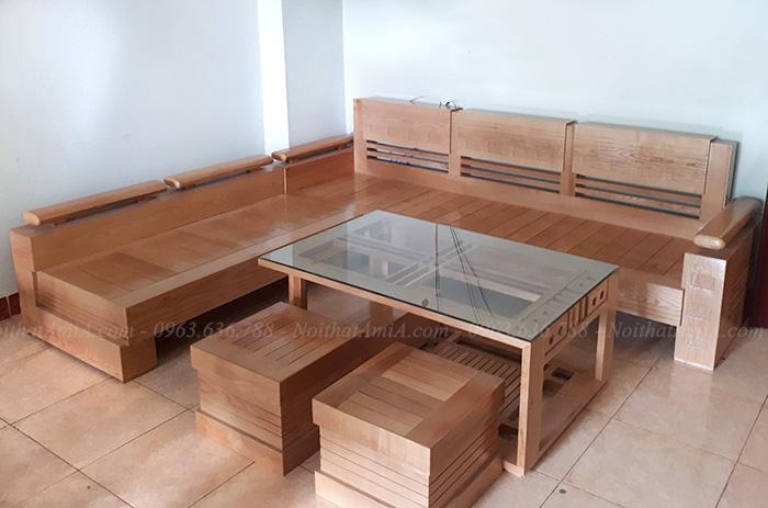 Hình ảnh Bộ bàn ghế gỗ phòng khách đẹp hiện đại và sang trọng tại nhà khách hàng