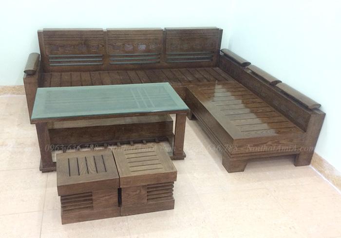 Hình ảnh Bộ ghế gỗ hình chữ L cho không gian căn phòng khách sang trọng