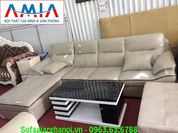 Hình ảnh ghế sofa da chữ L đẹp AmiA SFD141 hiện đại với thiết kế 4 chỗ ngồi