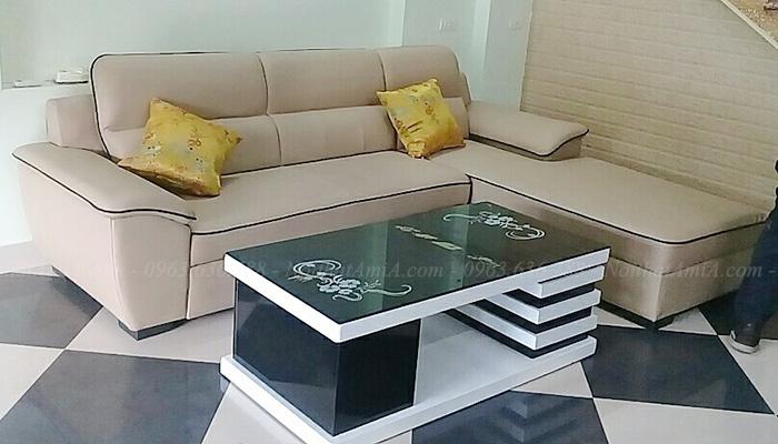 Hình ảnh Bộ ghế sofa da chữ L đẹp chụp tại nhà khách hàng