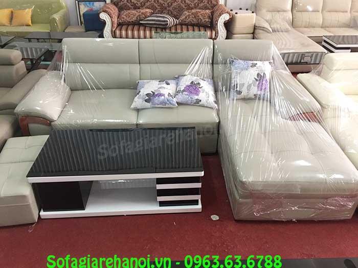 Hình ảnh mẫu sofa da chữ L đẹp với thiết kế ốp gỗ và rút khuy độc đáo