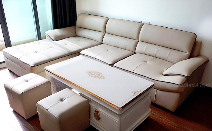 Hình ảnh Ghế sofa da chữ l đẹp hiện đại với kiểu dáng sang trọng