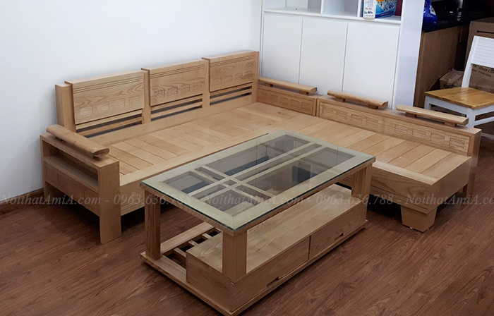 Hình ảnh Mẫu ghế sofa gỗ góc chữ L đẹp cho căn phòng đẹp