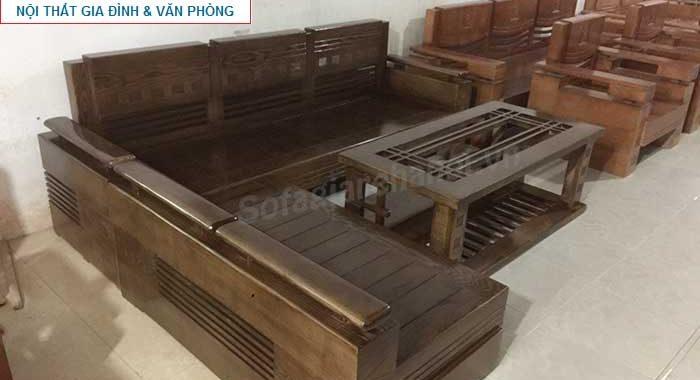 Hình ảnh mẫu ghế sofa chữ L gỗ màu nâu đen AmiA SFG017 đẹp hiện đại thật sang trọng và đẳng cấp