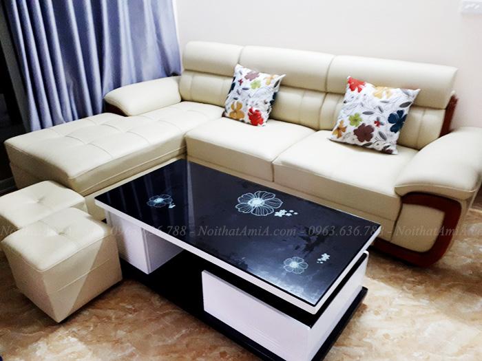 Hình ảnh Ghế sofa đẹp da góc chữ L với tay ốp gỗ độc đáo và mới lạ