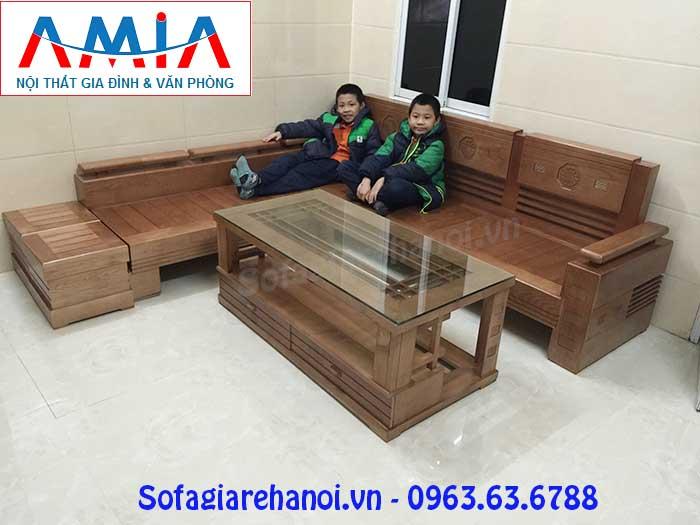 Hình ảnh mẫu ghế sofa gỗ chữ L đẹp hiện đại và sang trọng cho phòng khách gia đình