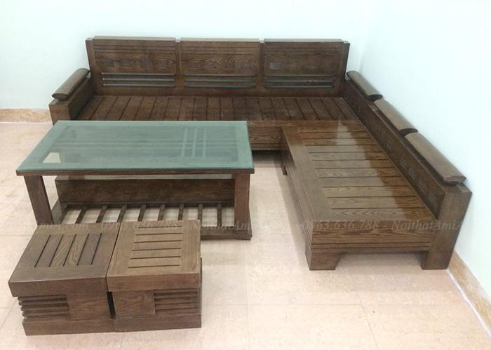 Hình ảnh Ghế sofa gỗ chữ L đẹp hiện đại và sang trọng kết hợp bàn trà gỗ kính