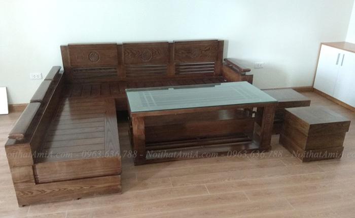 Hình ảnh Mẫu sản phẩm ghế sofa gỗ góc chữ L đẹp hiện đại và sang trọng