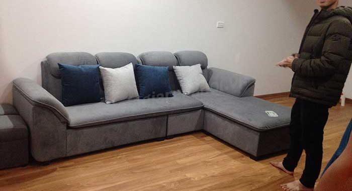 Hình ảnh bộ ghế sofa nỉ nhung hình chữ L đẹp hiện đại chỉ với giá bình dân