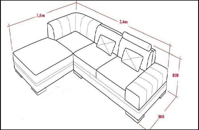 Hình ảnh kích thước bộ ghế sofa góc phổ biến trên thị trường nội thất hiện nay
