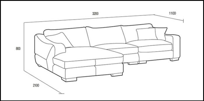 Hình ảnh kích thước chuẩn bộ ghế sofa chữ L 3 chỗ đẹp hiện đại