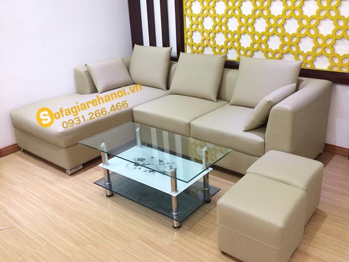 Hình ảnh ghế sofa da góc nhỏ xinh cho nhà nhỏ