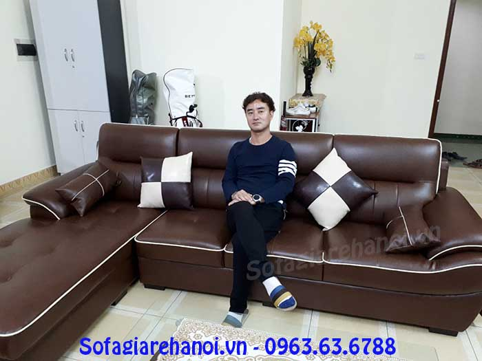 Hình ảnh bộ ghế sofa da góc chữ L màu nâu đỏ đẹp hiện đại