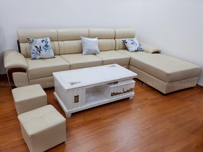 Hình ảnh Mẫu sofa đẹp da chữ L bài trí trong căn phòng đẹp nhà khách hàng