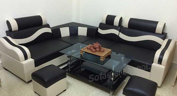 Hình ảnh mẫu sofa góc giá rẻ với chất liệu da hiện đại