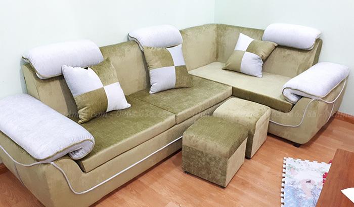 Hình ảnh Mẫu sofa góc nỉ đẹp chụp tại phòng khách nhà khách hàng
