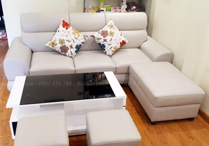 Hình ảnh Mẫu sofa văng đẹp chất liệu da kết hợp bàn trà kính đẹp