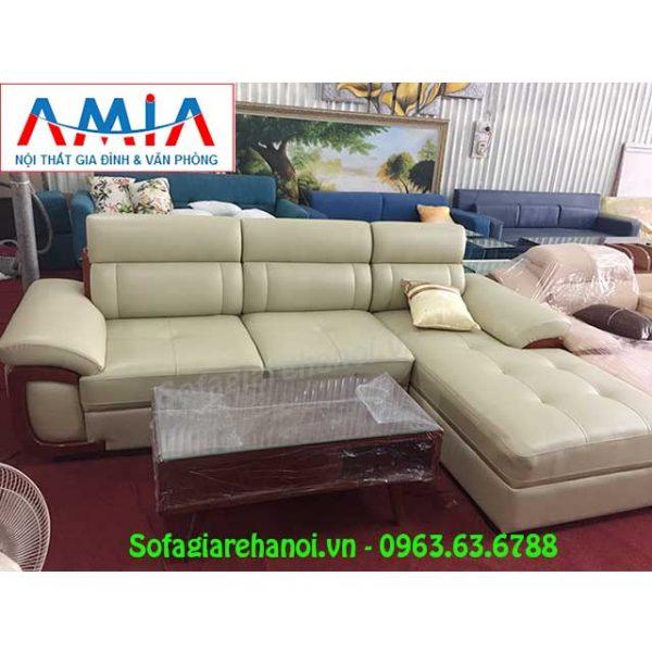 Hình ảnh mẫu ghế sofa da góc chữ L AmiA SFD142 đẹp hiện đại và sang trọng