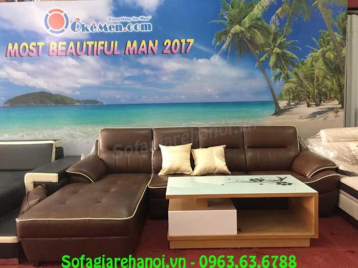 Hình ảnh bộ ghế sofa da góc chữ L đẹp hiện đại với thiết kế sang trọng