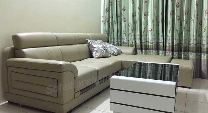 Hình ảnh mẫu sofa da góc chữ L kết hợp bàn trà hiện đại và sang trọng