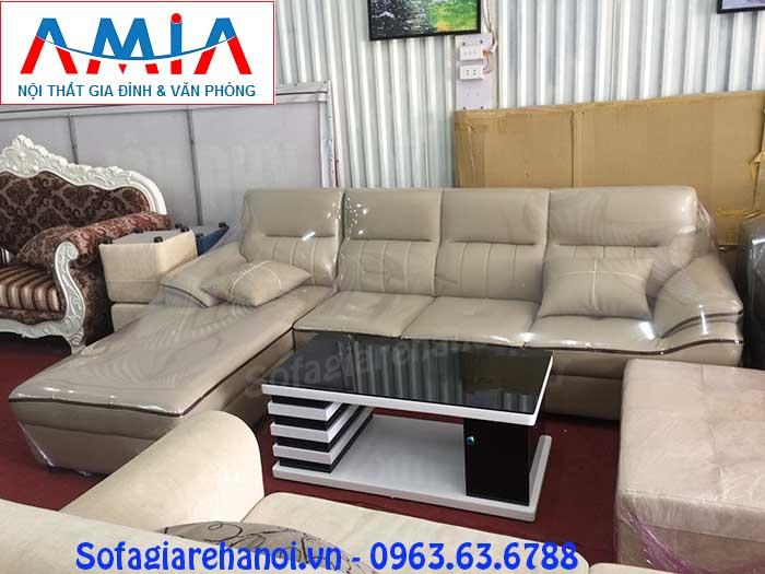 Hình ảnh mẫu ghế sofa da góc chữ L AmiA SFD141 vừa đẹp vừa hiện đại