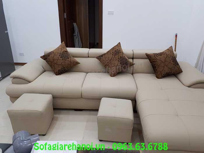 Hình ảnh mẫu ghế sofa da góc chữ L với thiết kế 3 chỗ ngồi
