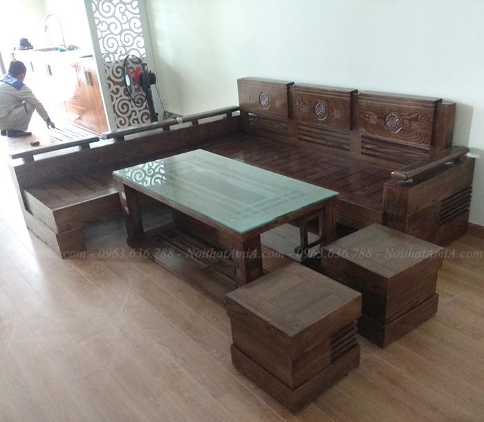 Hình ảnh Mẫu sofa gỗ góc chữ L cho căn phòng khách đẹp nhà chung cư
