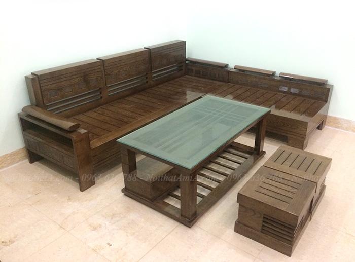 Hình ảnh Sofa gỗ phòng khách hình chữ L đẹp hiện đại và sang trọng