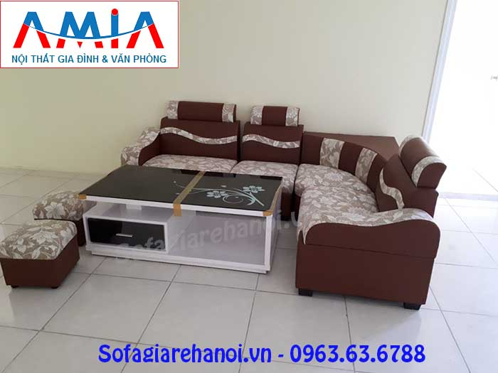 Hình ảnh mẫu sofa góc giá rẻ da pha nỉ đẹp thật hiện đại và trẻ trung