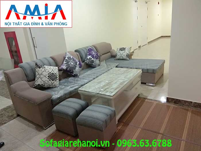 Hình ảnh sofa nỉ góc chữ L đẹp hiện đại trong phòng khách nhà khách hàng