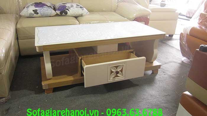 Hình ảnh mẫu bàn trà gỗ kính cường lực đẹp hiện đại với gam màu trắng tinh tế