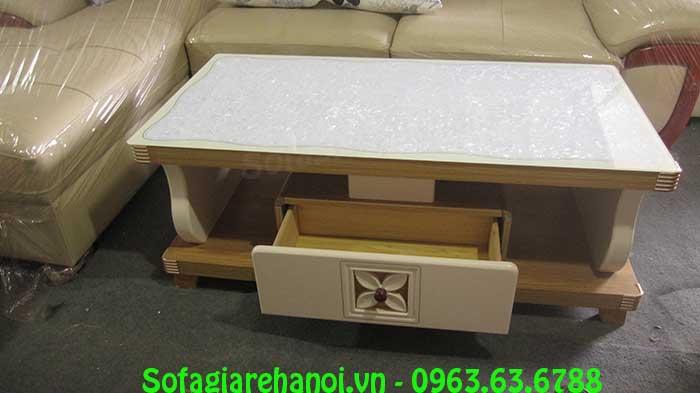Hình ảnh bộ bàn trà sofa đẹp với mặt đá cường lực trang trí, lấp lánh