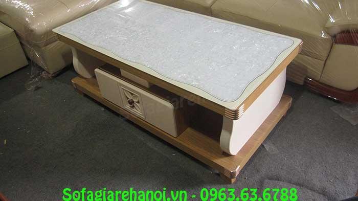 Hình ảnh mẫu bàn trà kính cường lực với khung chất liệu gỗ bền bỉ và chất lượng