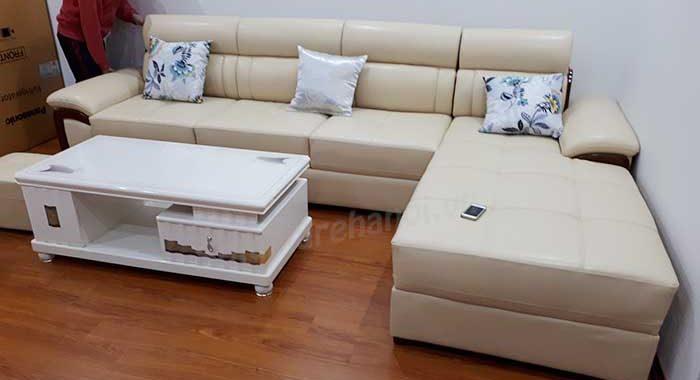 Hình ảnh bộ bàn ghế sofa da góc chữ L đẹp