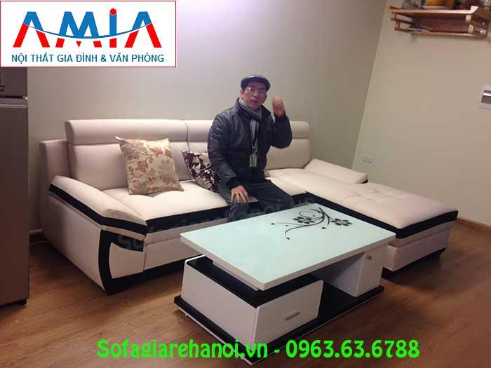 Hình ảnh bộ ghế sofa da góc chữ L đẹp hiện đại cùng bàn trà sofa đẹp