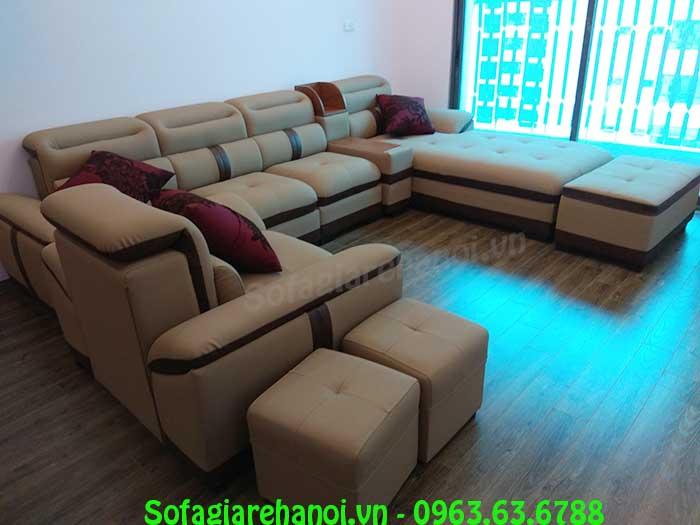Hình ảnh mẫu ghế sofa da góc chữ L đẹp hiện đại thật sang trọng